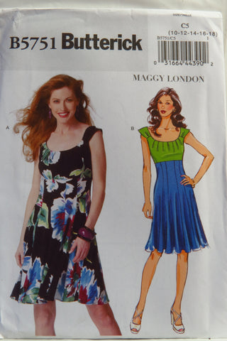 Butterick 5751 Misses' Dress - 10-12-14-16-18 - Smiths Depot Sewing Pattern Superstore  - 1