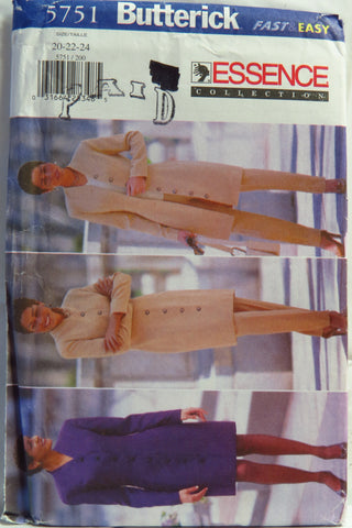 Butterick 5751 Misses'/Misses' Petite Dress, Jacket and Pants - 20-22-24 - Smiths Depot Sewing Pattern Superstore