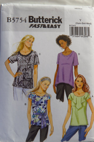 Butterick 5754 Misses' Tops - XS-S-M - Smiths Depot Sewing Pattern Superstore  - 1