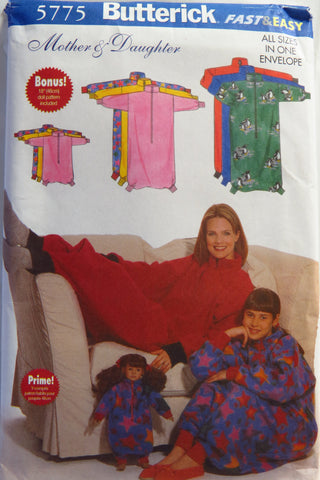 "Butterick 5775 Misses'/Girls'/18"" Doll Lounge Sack Sleepwear -  - Smiths Depot Sewing Pattern Superstore"