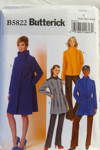Butterick 5822 Misses' Jacket, Coat and Belt - XS-S-M - Smiths Depot Sewing Pattern Superstore  - 1