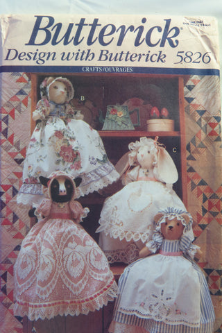 Butterick 5826 Pillow-Case Animal Dolls -  - Smiths Depot Sewing Pattern Superstore