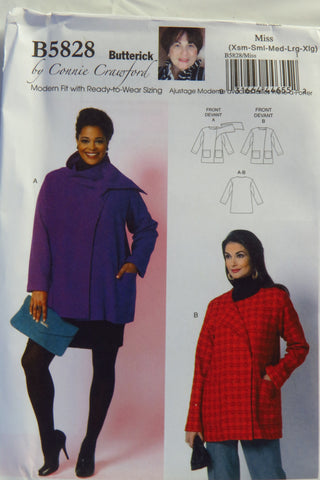 Butterick 5828 Misses'/Women's Jacket - XS-S-M-L-XL - Smiths Depot Sewing Pattern Superstore  - 1