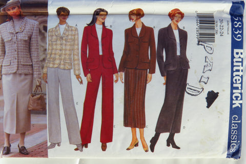 Butterick 5839 Misses'/Misses' Petite Jacket, Skirt and Pants - 20-22-24 - Smiths Depot Sewing Pattern Superstore