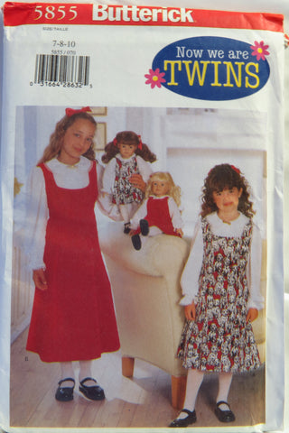 "Butterick 5855 Girls'/18"" Doll Jumper and Blouse - 7-8-10 - Smiths Depot Sewing Pattern Superstore"