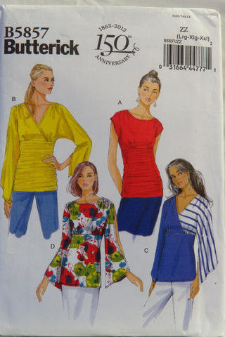 Butterick 5857 Misses' Top - L-XL-XXL - Smiths Depot Sewing Pattern Superstore