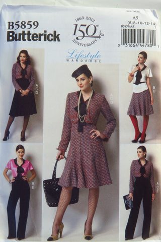 Butterick 5859 Misses' Jacket, Blouse, Skirt, and Pants - 6-8-10-12-14 - Smiths Depot Sewing Pattern Superstore  - 1