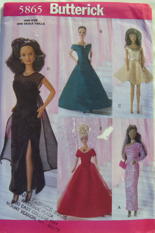 "Butterick 5865 11½"" Fashion Doll Dress -  - Smiths Depot Sewing Pattern Superstore"