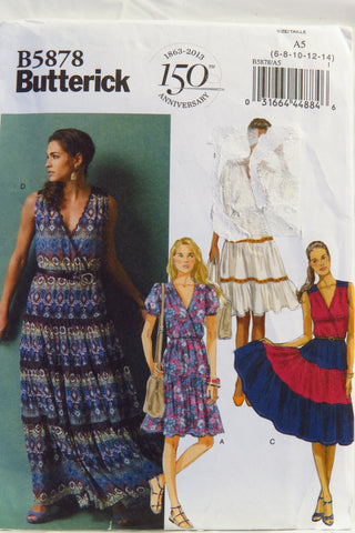 Butterick 5878 Misses' Dress - 6-8-10-12-14 - Smiths Depot Sewing Pattern Superstore
