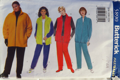 Butterick 5890 Women's/Women's Petite Jacket, Vest and Pants - 28W-30W-32W - Smiths Depot Sewing Pattern Superstore