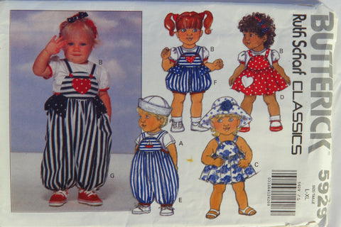 Butterick 5929 Infants' Top, Jumper, Panties, Romper and Headband - L-XL - Smiths Depot Sewing Pattern Superstore