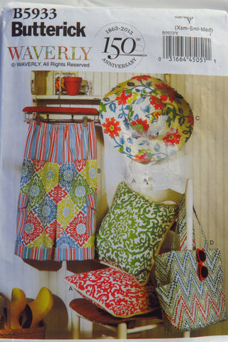 Butterick 5933 Pillow, Pants, Hat and Tote - XS-S-M - Smiths Depot Sewing Pattern Superstore