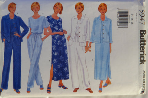 Butterick 5947 Misses'/Misses' Petite Jacket, Dress, Top and Pants - 14-16-18 - Smiths Depot Sewing Pattern Superstore