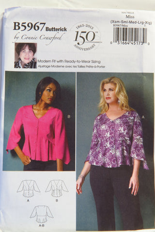 Butterick 5967 Misses'/Women's Top - XS-S-M-L-XL - Smiths Depot Sewing Pattern Superstore