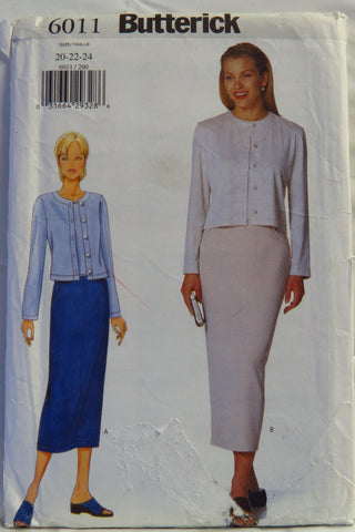 Butterick 6011 Misses'/Misses' Petite Cardigan, Top and Skirt - 20-22-24 - Smiths Depot Sewing Pattern Superstore