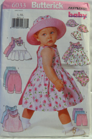 Butterick 6033 Infants' Dress, Top, Panties, Shorts, Pants and Hat -  - Smiths Depot Sewing Pattern Superstore