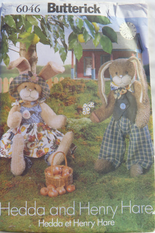 Butterick 6046 Hedda and Henry Hare Bunny Doll Plush -  - Smiths Depot Sewing Pattern Superstore