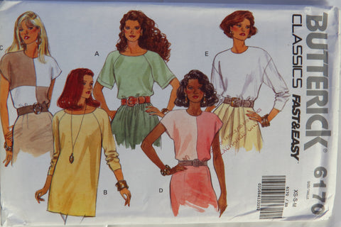 Butterick 6170 Misses' Pullover Top - XS-S-M - Smiths Depot Sewing Pattern Superstore
