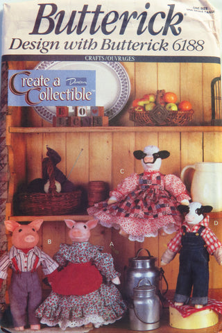 Butterick 6188 Pig, Cow and Four Outfits -  - Smiths Depot Sewing Pattern Superstore