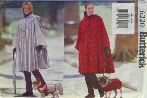 Butterick 6220 Misses' Poncho and Dog Coat - XL-XXL - Smiths Depot Sewing Pattern Superstore