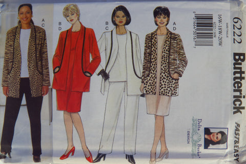 Butterick 6222 Women's Jacket, Top, Dress and Pants -  - Smiths Depot Sewing Pattern Superstore  - 1