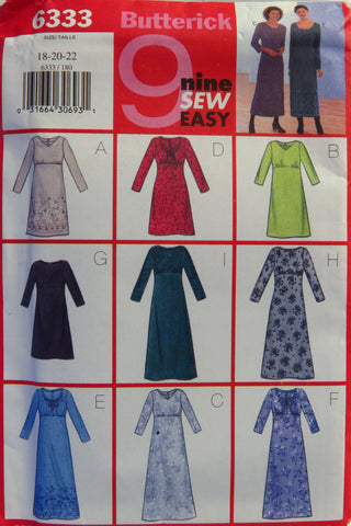 Butterick 6333 Misses'/Misses' Petite Dress - 18-20-22 - Smiths Depot Sewing Pattern Superstore