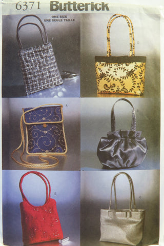 Butterick 6371 Evening Handbags and Purses -  - Smiths Depot Sewing Pattern Superstore