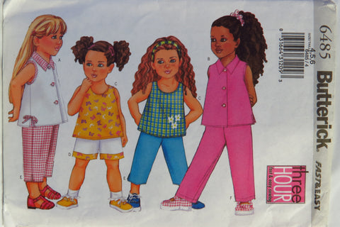 Butterick 6485 Toddlers'/Children's Top, Shorts and Pants - 4-5-6 - Smiths Depot Sewing Pattern Superstore