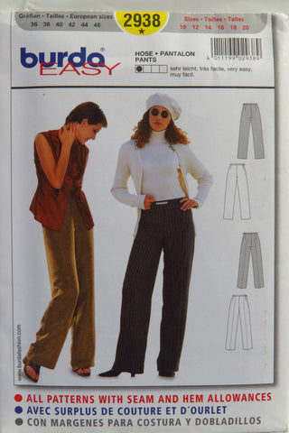 Burda 2938 Misses' Pants - (10-12-14-16-18-20) - Smiths Depot Sewing Pattern Superstore