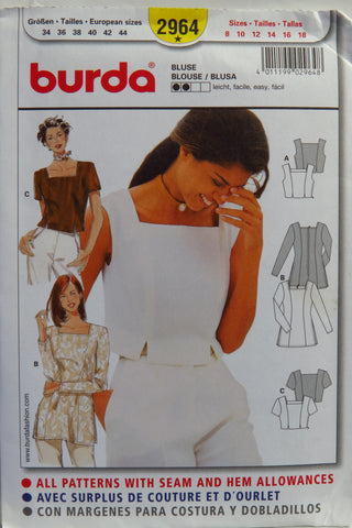 Burda 2964 Misses' Blouse - (8-10-12-14-16-18) - Smiths Depot Sewing Pattern Superstore