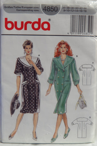 Burda 4850 Misses' Dress - 8-10-12-14-16-18 - Smiths Depot Sewing Pattern Superstore