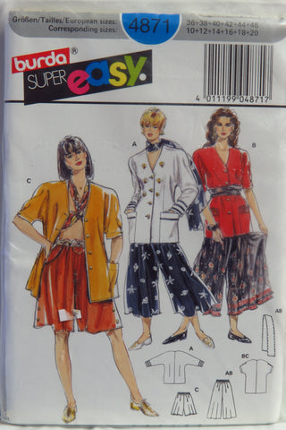 Burda 4871 Misses' Jacket and Pants - 10-12-14-16-18-20 - Smiths Depot Sewing Pattern Superstore