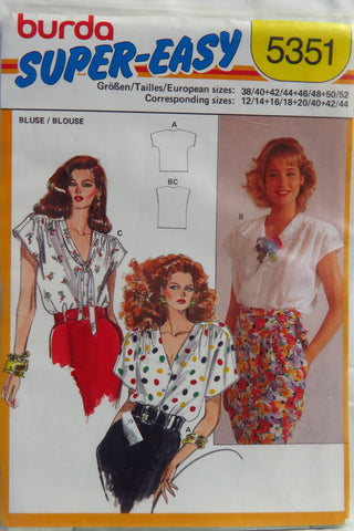 Burda 5351 Misses' Blouse - 12-14-16-18 - Smiths Depot Sewing Pattern Superstore