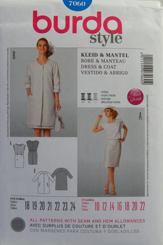 Burda 7060 Misses' Dress and Coat - 10-12-14-16-18-20-22 - Smiths Depot Sewing Pattern Superstore