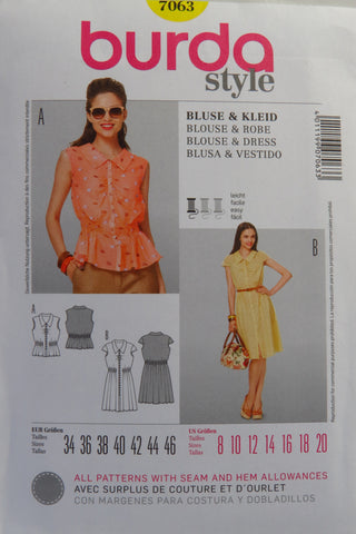 Burda 7063 Misses' Blouse and Dress - 8-10-12-14-16-18-20 - Smiths Depot Sewing Pattern Superstore