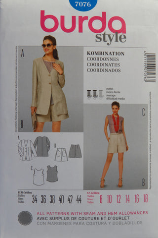 Burda 7076 Misses' Coordinates - 8-10-12-14-16-18 - Smiths Depot Sewing Pattern Superstore