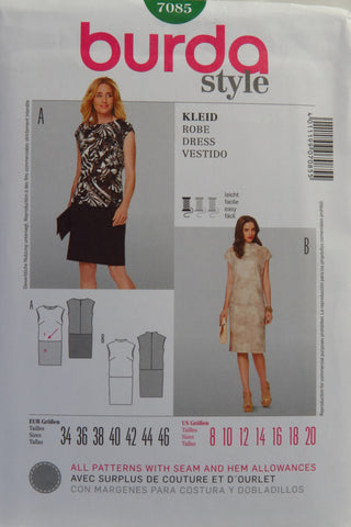 Burda 7085 Misses' Dress - 8-10-12-14-16-18-20 - Smiths Depot Sewing Pattern Superstore
