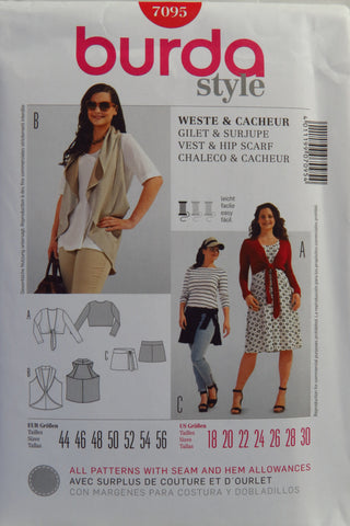 Burda 7095 Women's Vest and Hip Scarf - 18-20-22-24-26-28-30 - Smiths Depot Sewing Pattern Superstore