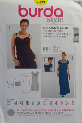 Burda 7099 Women's Bustier Top and Dress - 18-20-22-24-26 - Smiths Depot Sewing Pattern Superstore