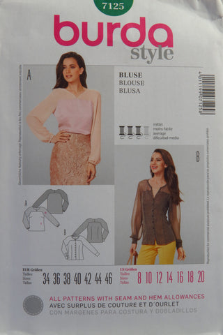 Burda 7125 Misses' Blouse - 8-10-12-14-16-18-20 - Smiths Depot Sewing Pattern Superstore