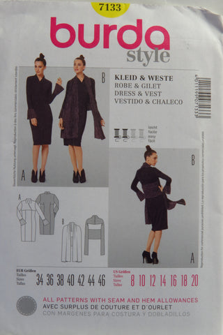 Burda 7133 Misses' Dress and Vest - 8-10-12-14-16-18-20 - Smiths Depot Sewing Pattern Superstore