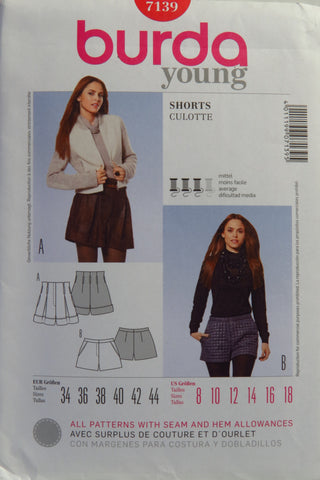 Burda 7139 Misses' Shorts - 8-10-12-14-16-18 - Smiths Depot Sewing Pattern Superstore