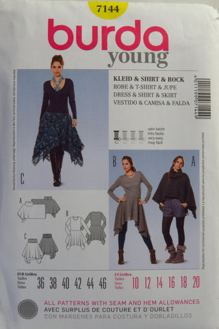 Burda 7144 Misses' Dress, Skirt and Shirt - 10-12-14-16-18-20 - Smiths Depot Sewing Pattern Superstore
