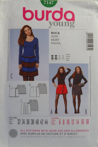 Burda 7147 Misses' Skirt - 6-8-10-12-14-16-18 - Smiths Depot Sewing Pattern Superstore
