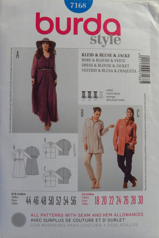 Burda 7168 Women's Jacket, Dress and Blouse - 18-20-22-24-26-28-30 - Smiths Depot Sewing Pattern Superstore