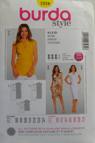 Burda 7234 Misses' and Miss Petite Dress - 10-12-14-16-18-20-22 - Smiths Depot Sewing Pattern Superstore