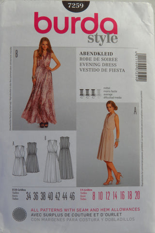 Burda 7259 Misses' Evening Dress - 8-10-12-14-16-18-20 - Smiths Depot Sewing Pattern Superstore