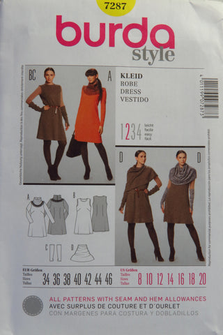 Burda 7287 Misses' Dress - 8-10-12-14-16-18-20 - Smiths Depot Sewing Pattern Superstore