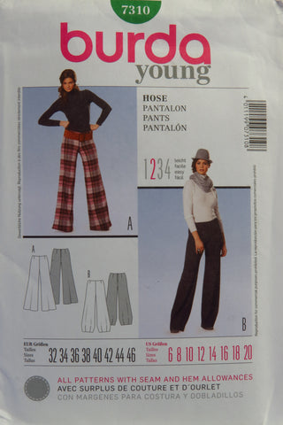 Burda 7310 Misses' Pants - 6-8-10-12-14-16-18-20 - Smiths Depot Sewing Pattern Superstore