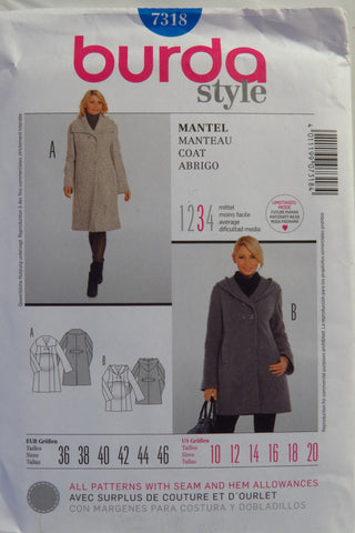 Burda 7318 Misses' Coat - 10-12-14-16-18-20 - Smiths Depot Sewing Pattern Superstore